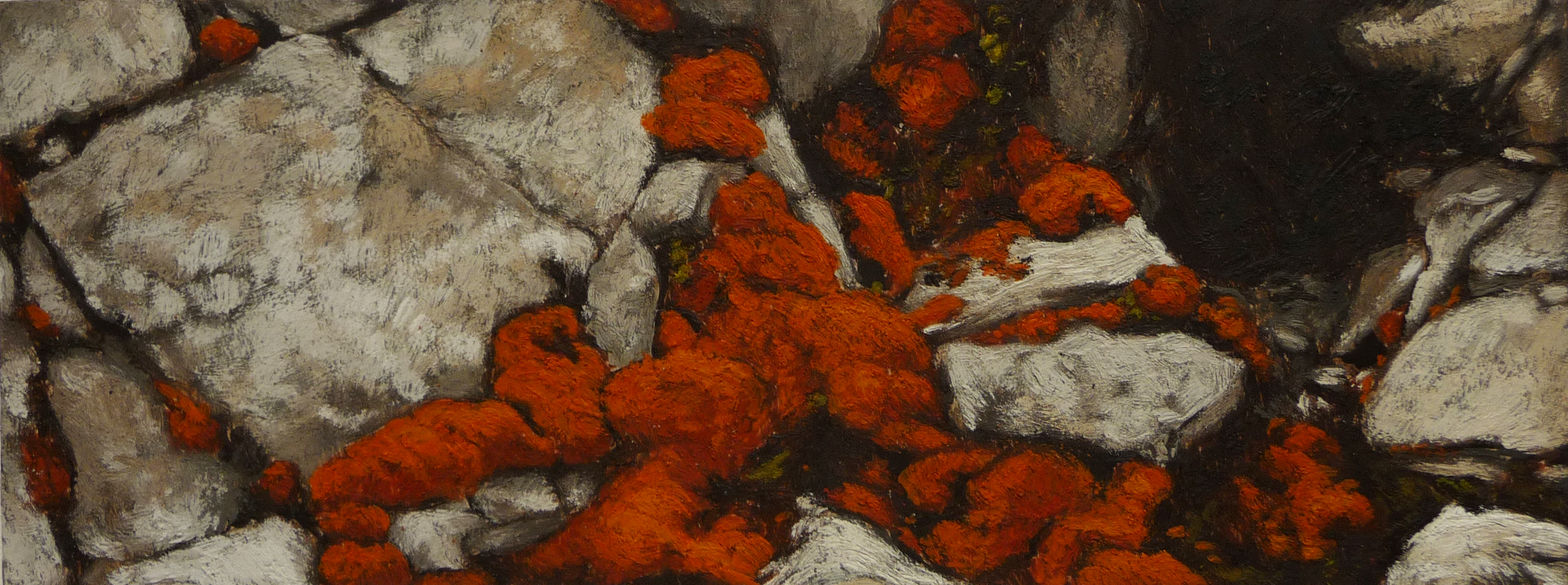 <p><strong>Orange moss  SOLD</strong><br />Encaustic on wood, 34 x 13 cm</p>