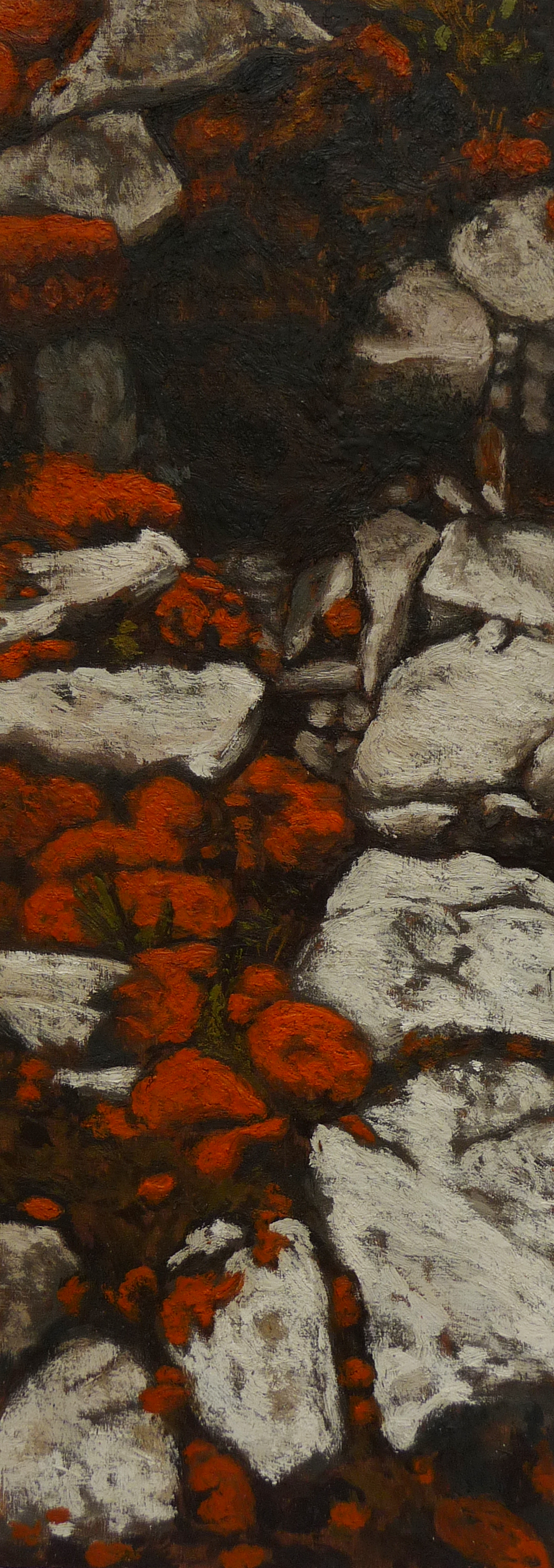 <p><strong>Orange moss 2            SOLD</strong><br />Encaustic on wood, 35 x 12,5 cm</p>
