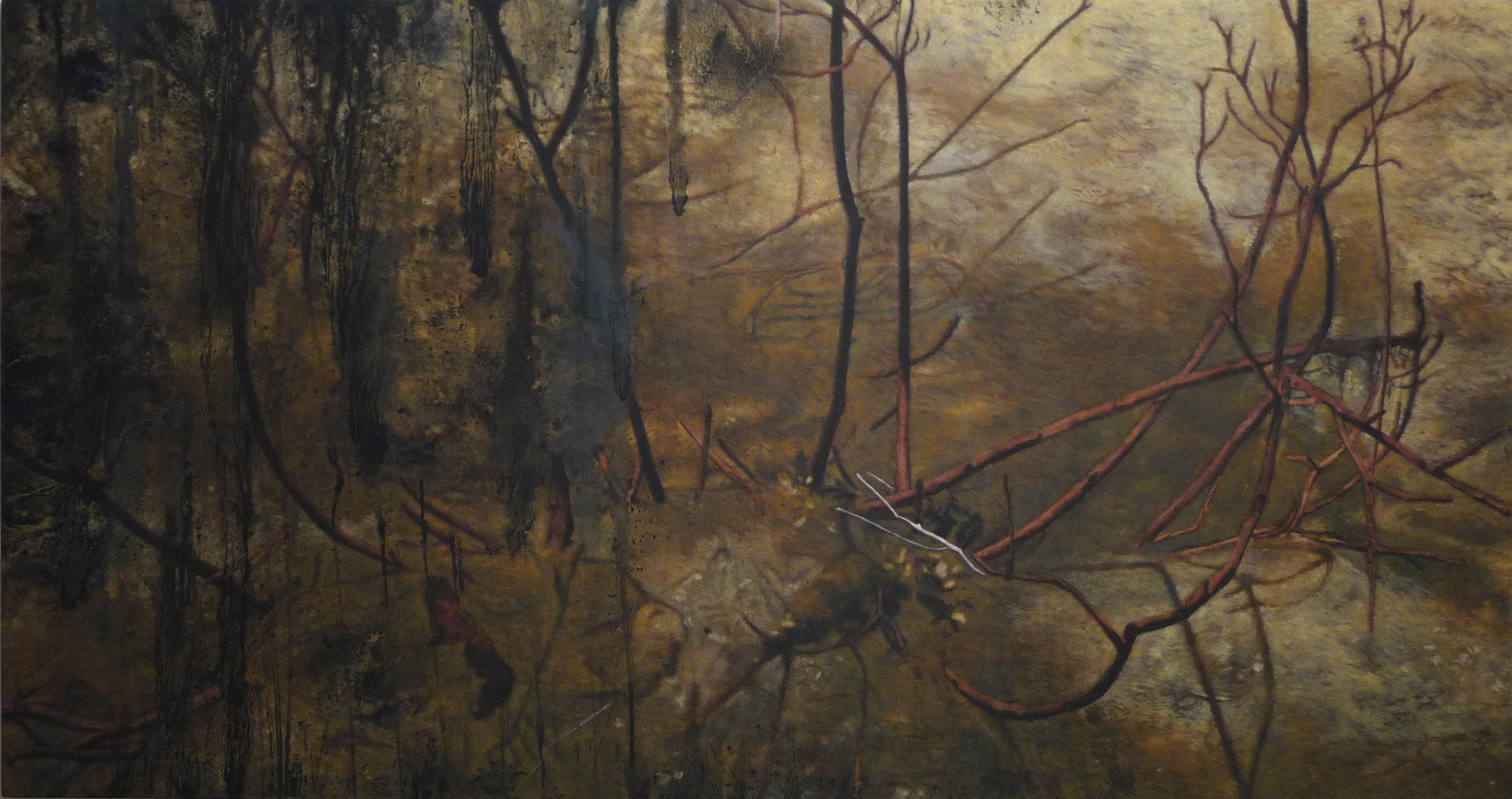 <p><strong>After Fire                             2475 Euro</strong><br />Punic wax on canvas       190x100 cm