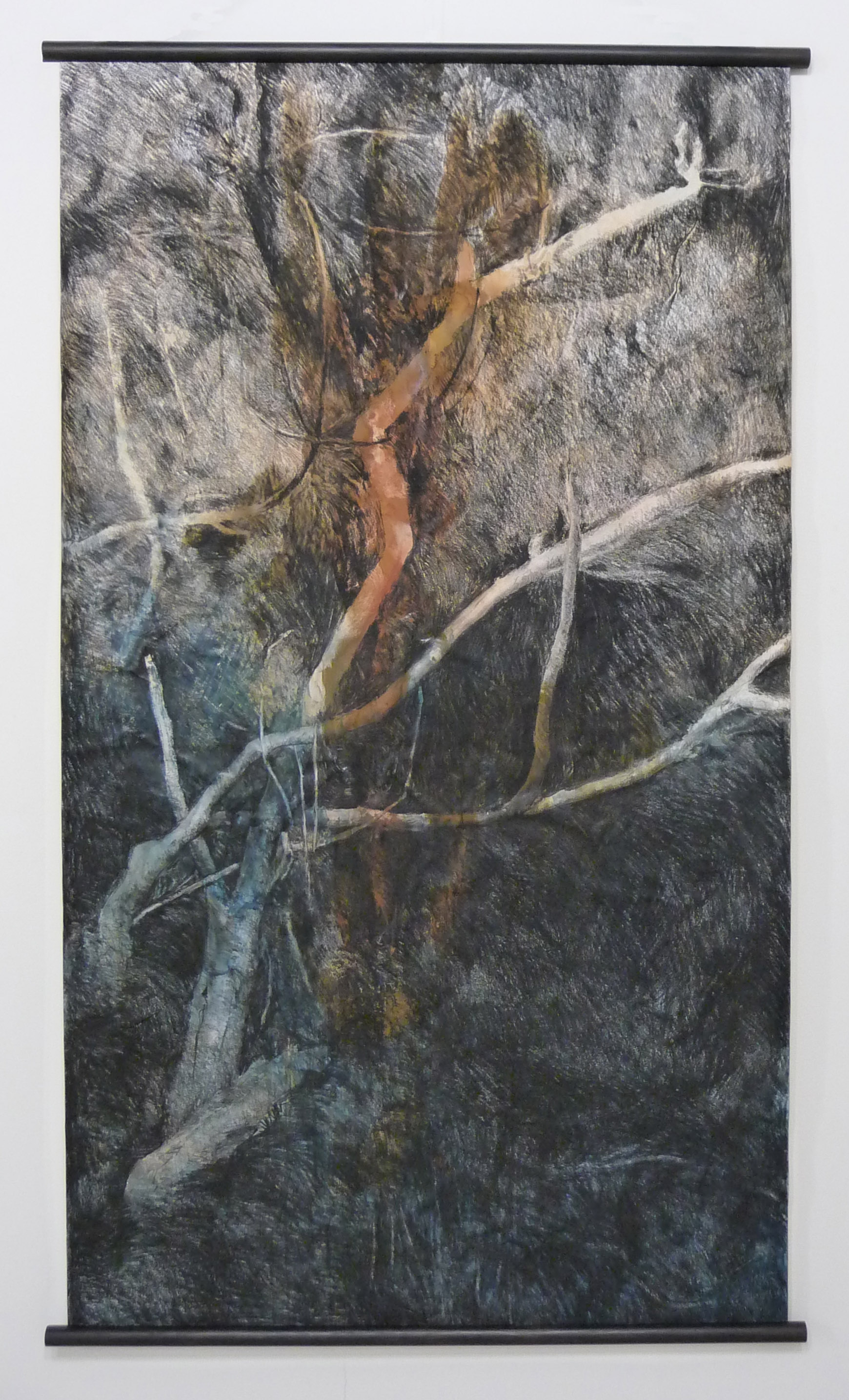<p><strong>Death of Heather                     750 euro</strong><br />Casein and charcoal on paper   104x176 cm