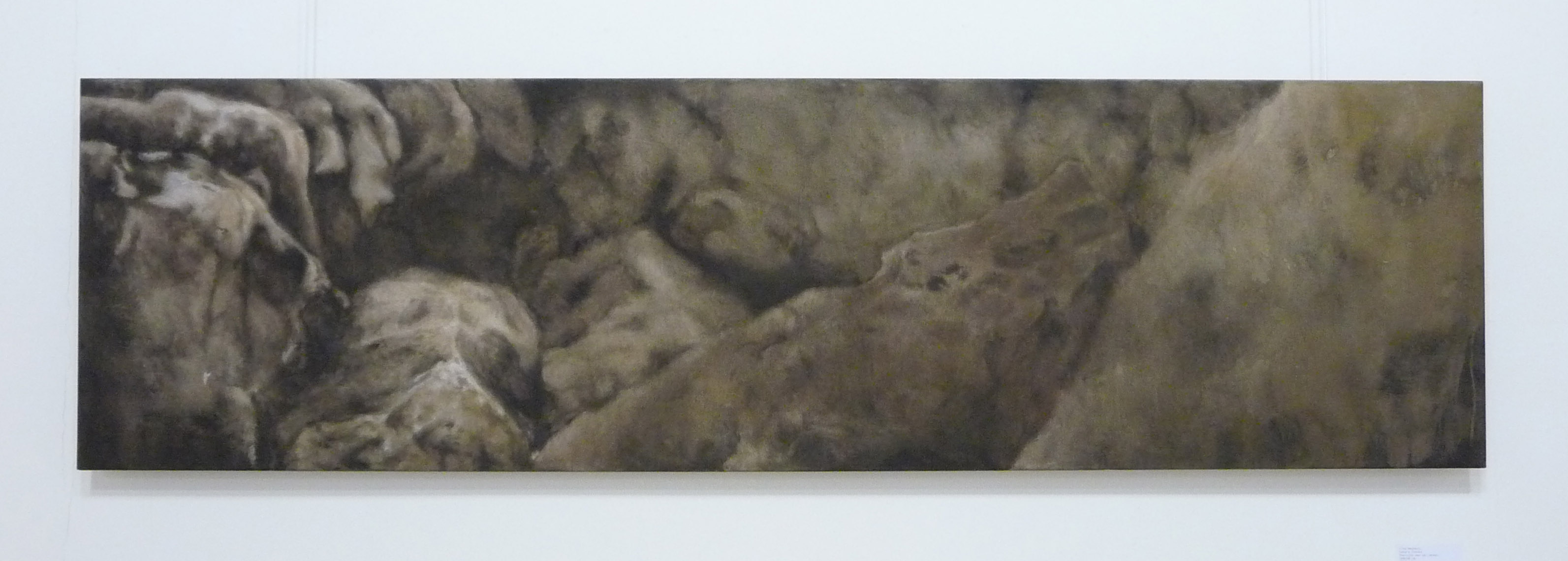 <p><strong>Sahara Stones                  1550 euro</strong><br />Punic wax on canvas        50x180cm