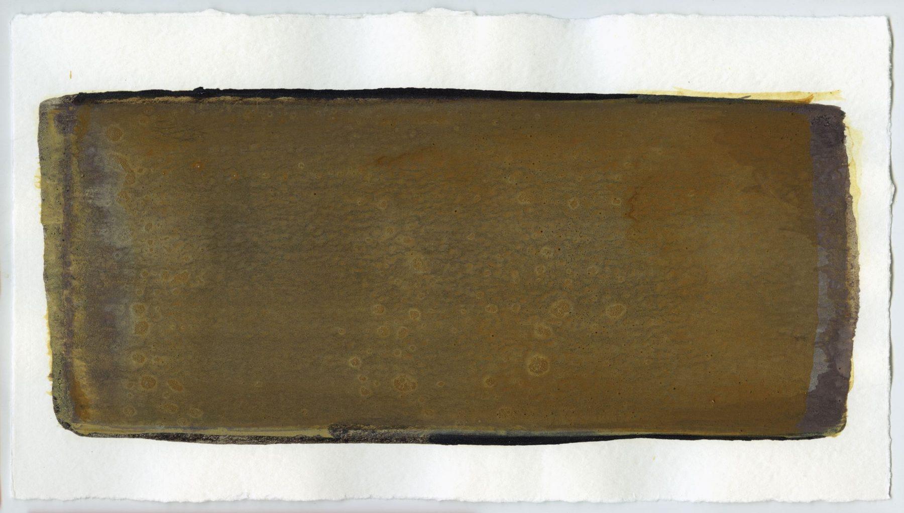 Brush stroke no. 22 - Selfmade pigment: Slingerpad bruin, Mortelse oker, Mortel paarsgrijs fijn, Mortelse goudoker