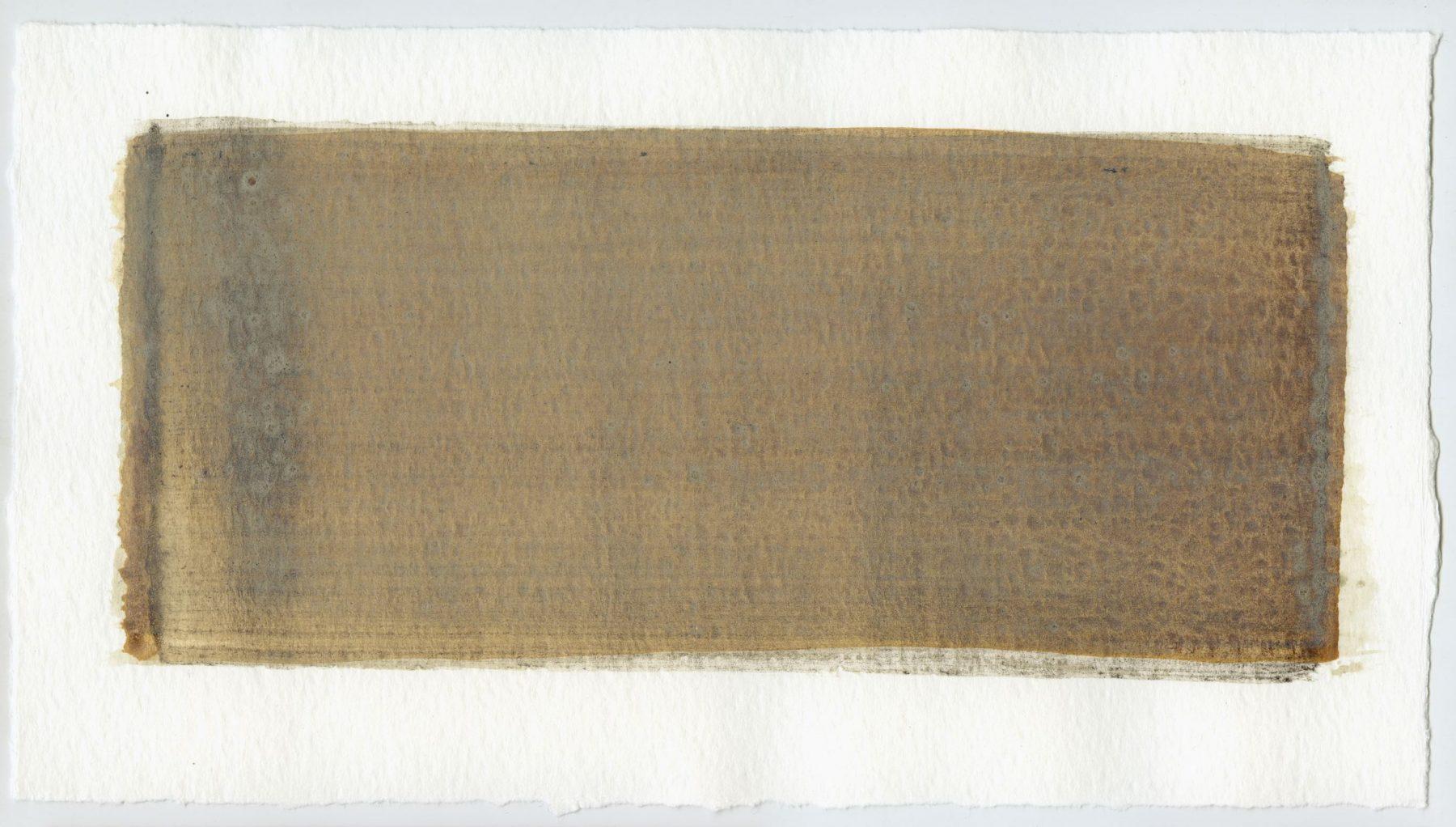 Brush stroke no. 28 - Selfmade pigment: IJzeroer, Slingerpad zwart, Boekels grijs