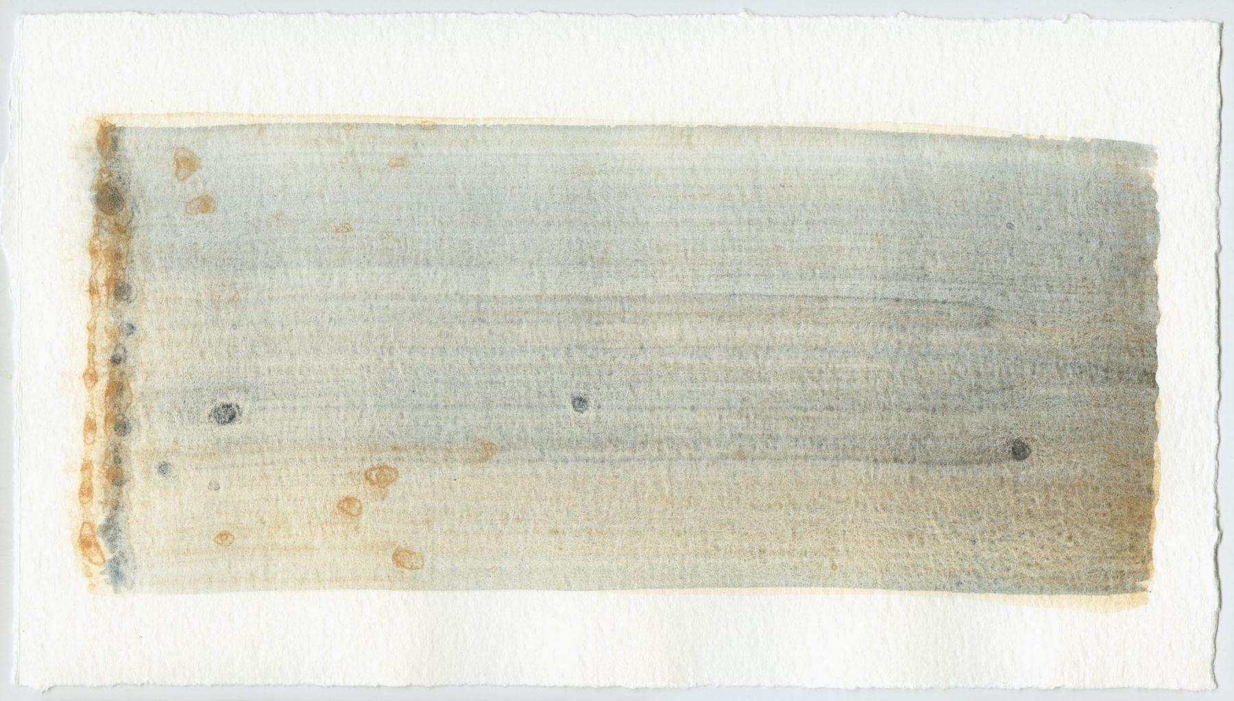 Brush stroke no. 32 - Pigment: Vivianiet (from Kremer Pigmente) Selfmade pigment: Perekker roze