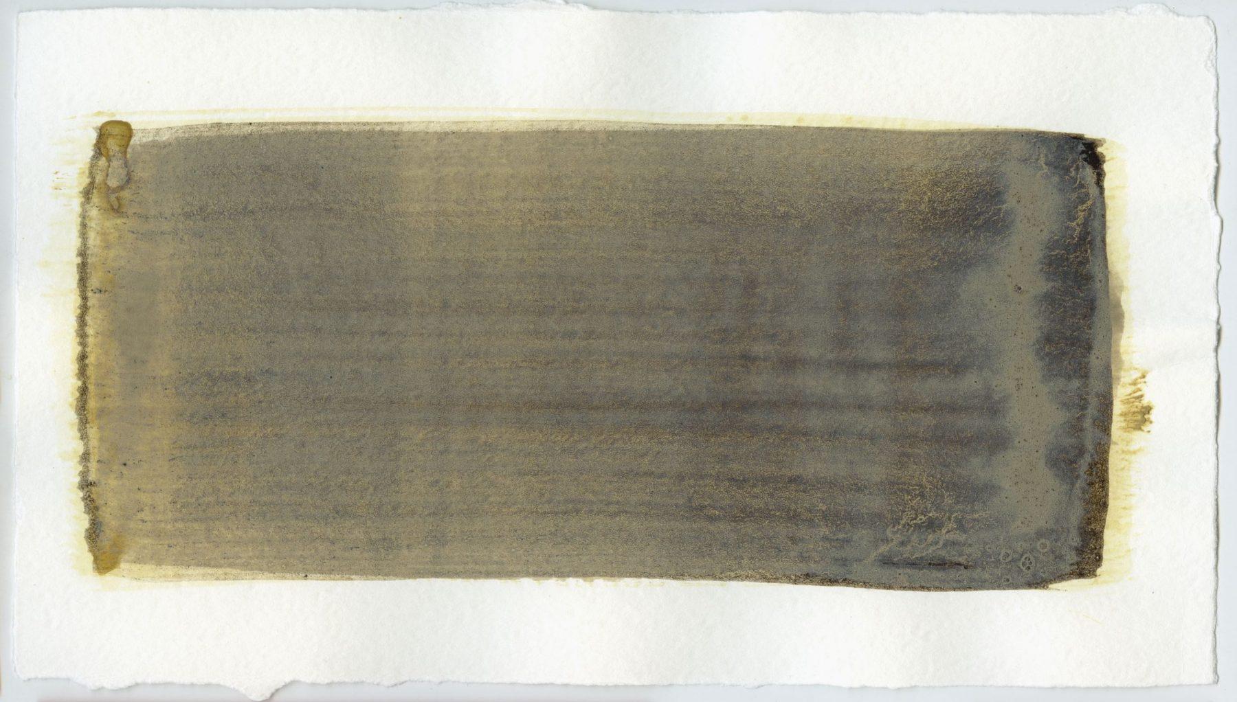 Brush stroke no. 34 - Selfmade pigment: Mortelse oker, Slingerpad bruin, Perekker grijs