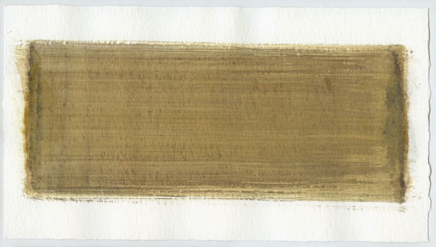 Brush stroke no. 36 - Selfmade pigment: IJzeroer, Mortelse goudoker, Slingerpad bruin