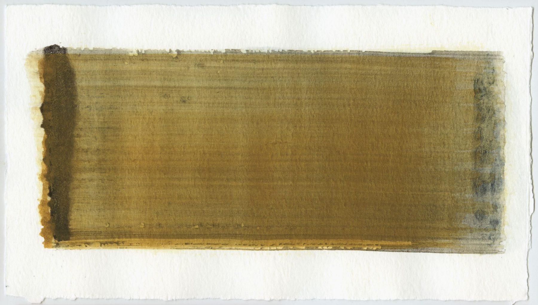 Brush stroke no. 37 - Pigment: vivianiet (from Kremer Pigmente) Selfmade pigment: Mortelse oker, Slingerpad bruin, Mortelse goudoker