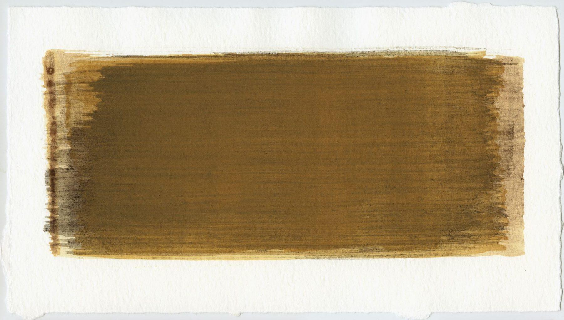 Brush stroke no. 38 - Selfmade pigment: IJzeroer, Slingerpad bruin, Mortelse goudoker