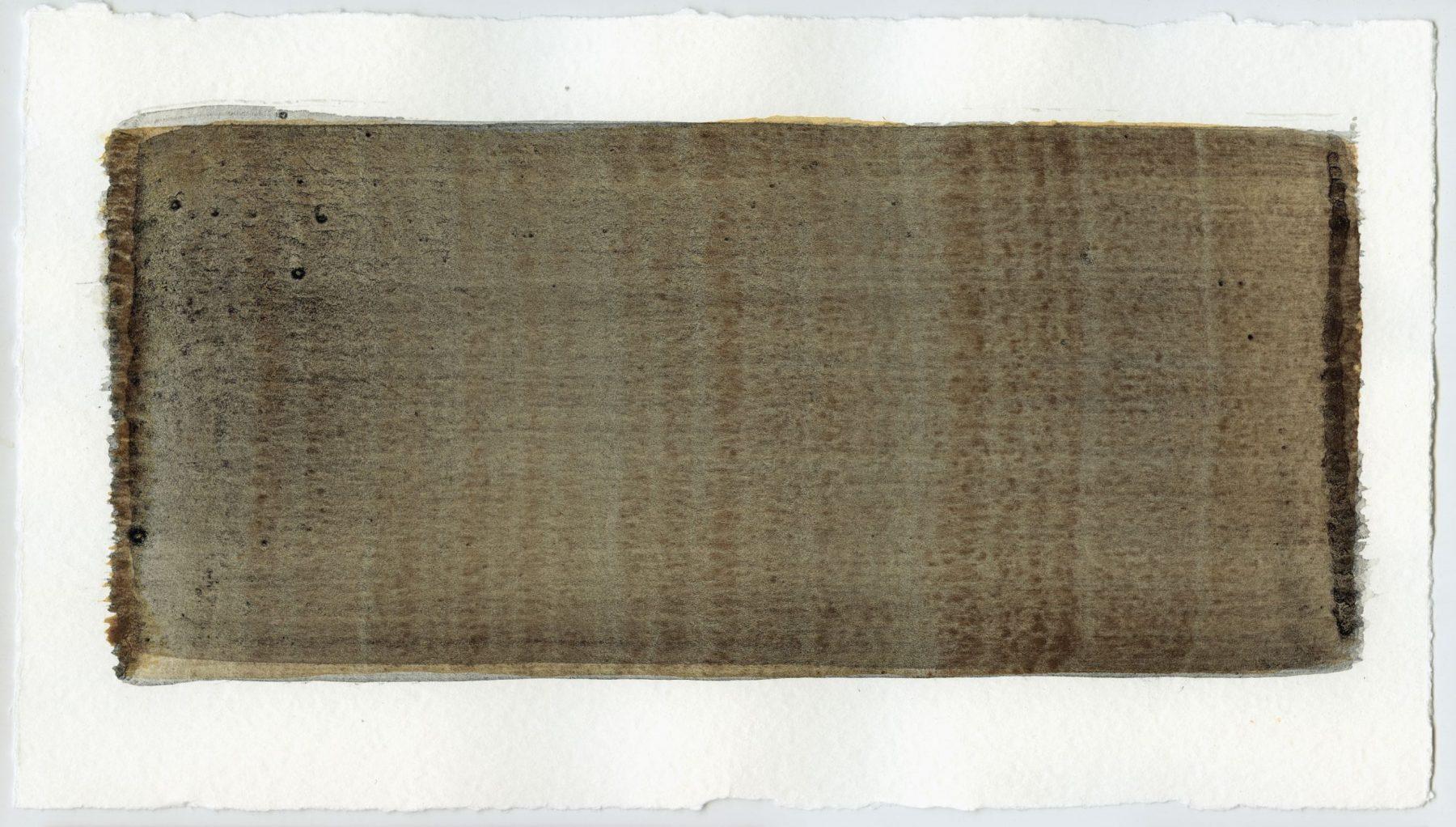 Brush stroke no. 53 - Selfmade pigment: Slingerpad zwart, IJzeroer gebrand, Slingerpad zwart