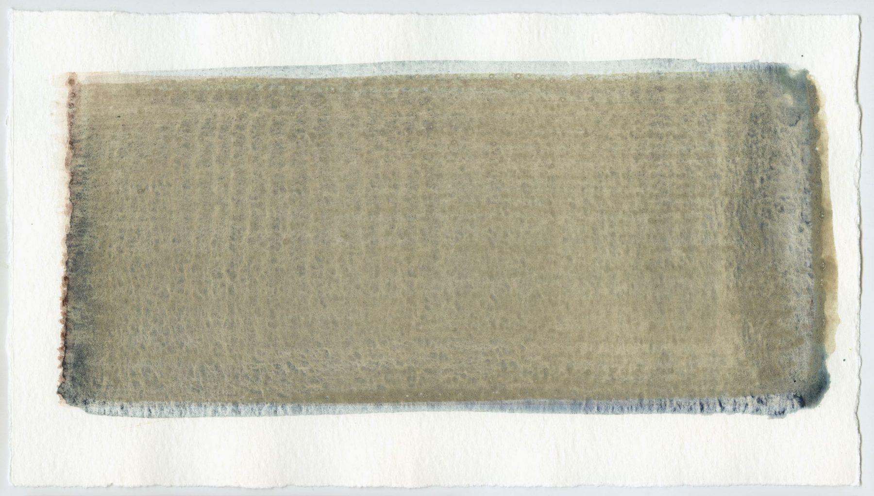 Brush stroke no. 62 - Pigment: Vivianiet (from Kremer Pigmente) Selfmade pigment: IJzeroer gebrand, Boekels grijs