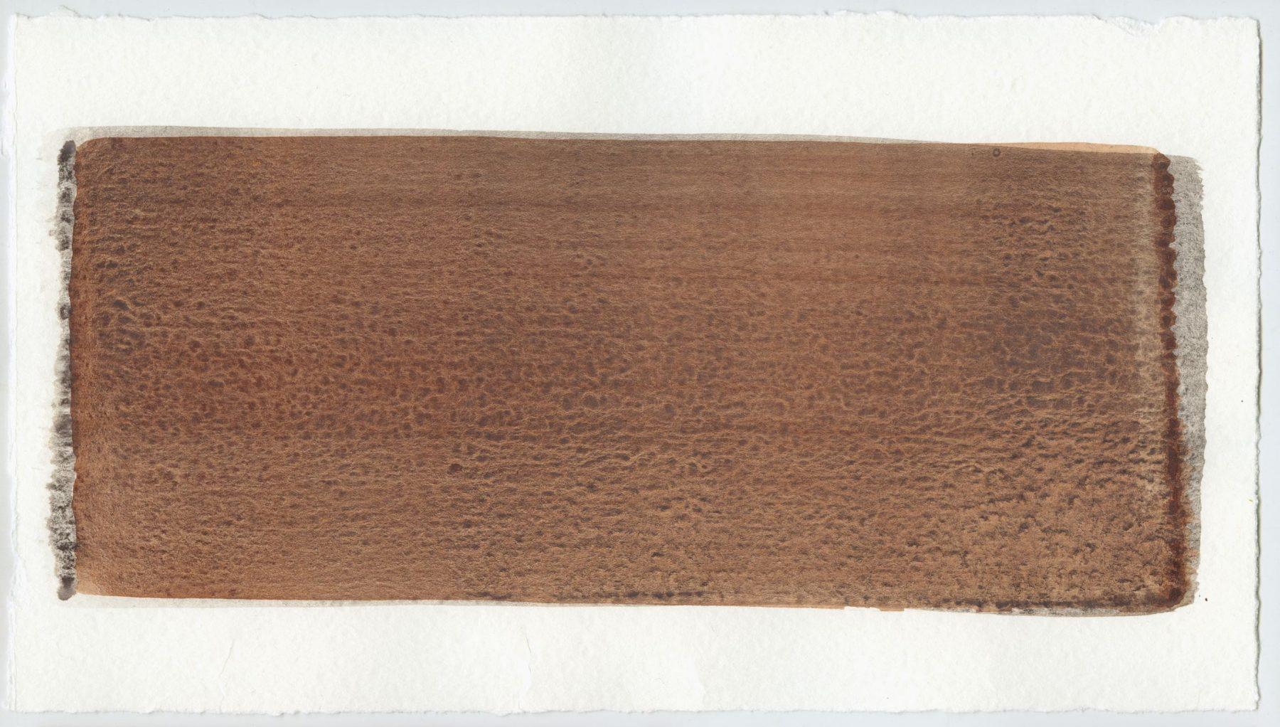 Brush stroke no. 63 - Selfmade pigment: IJzeroer gebrand, Mortel paarsgrijs middel