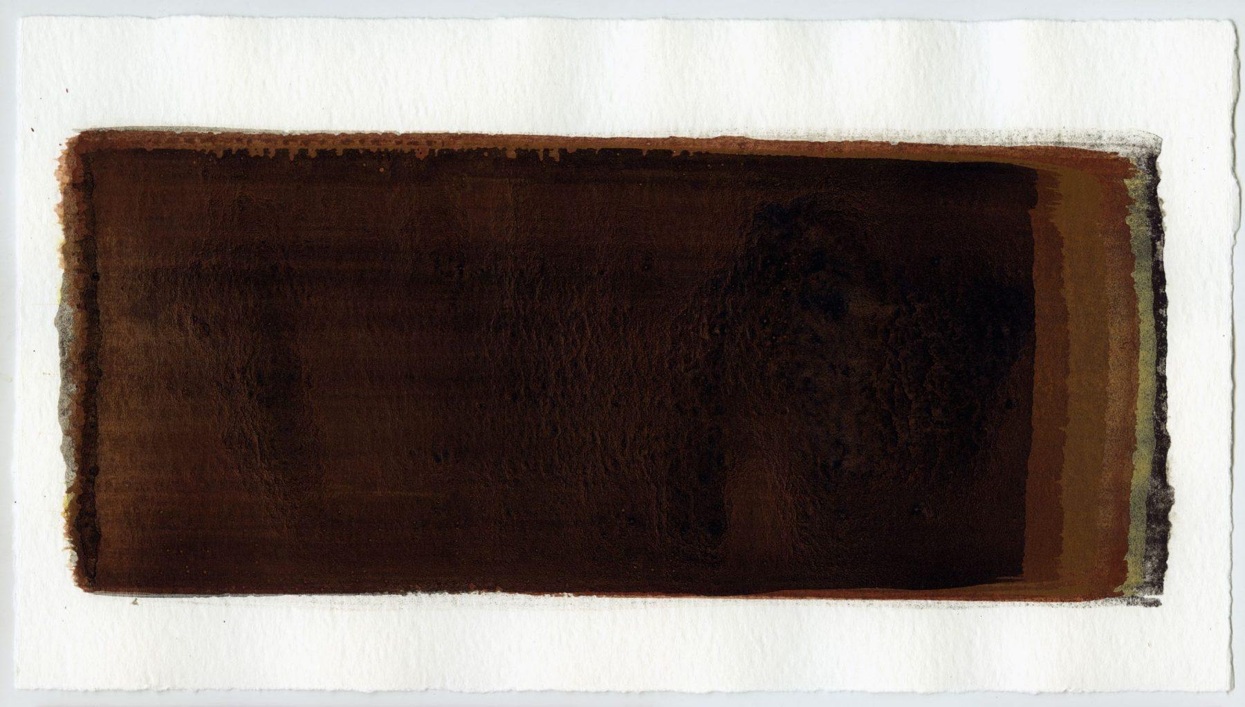Brush stroke no. 64 - SOLD - Selfmade pigment: Mortel paarsgrijs grof, Mortelse oker, Mortelse oker gebrand, IJzeroer, IJzeroer gebrand, Slingerpad zwart