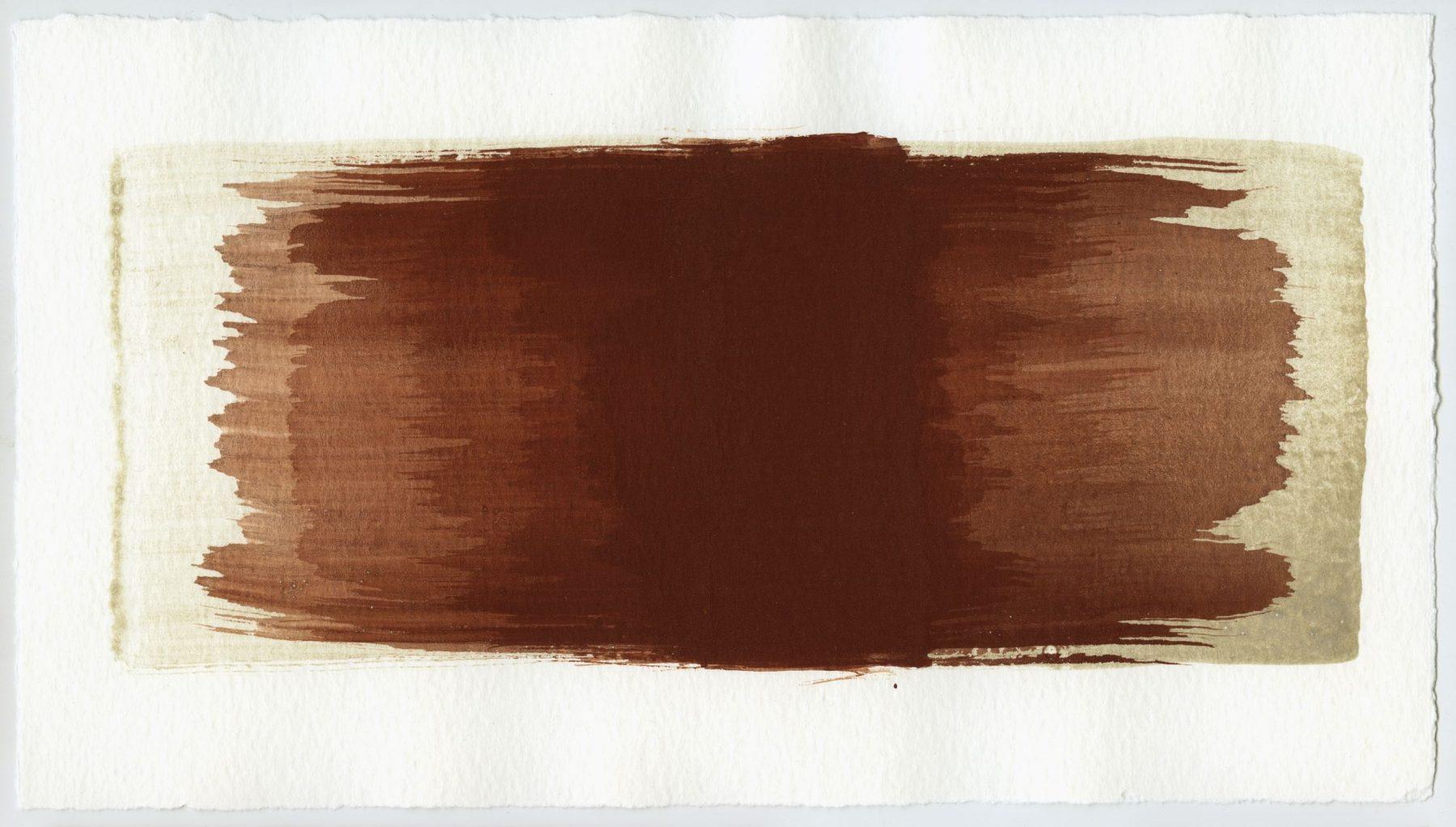 Brush stroke no. 68 - Selfmade pigment: Perekker grijs gebrand, Mortelse oker gebrand