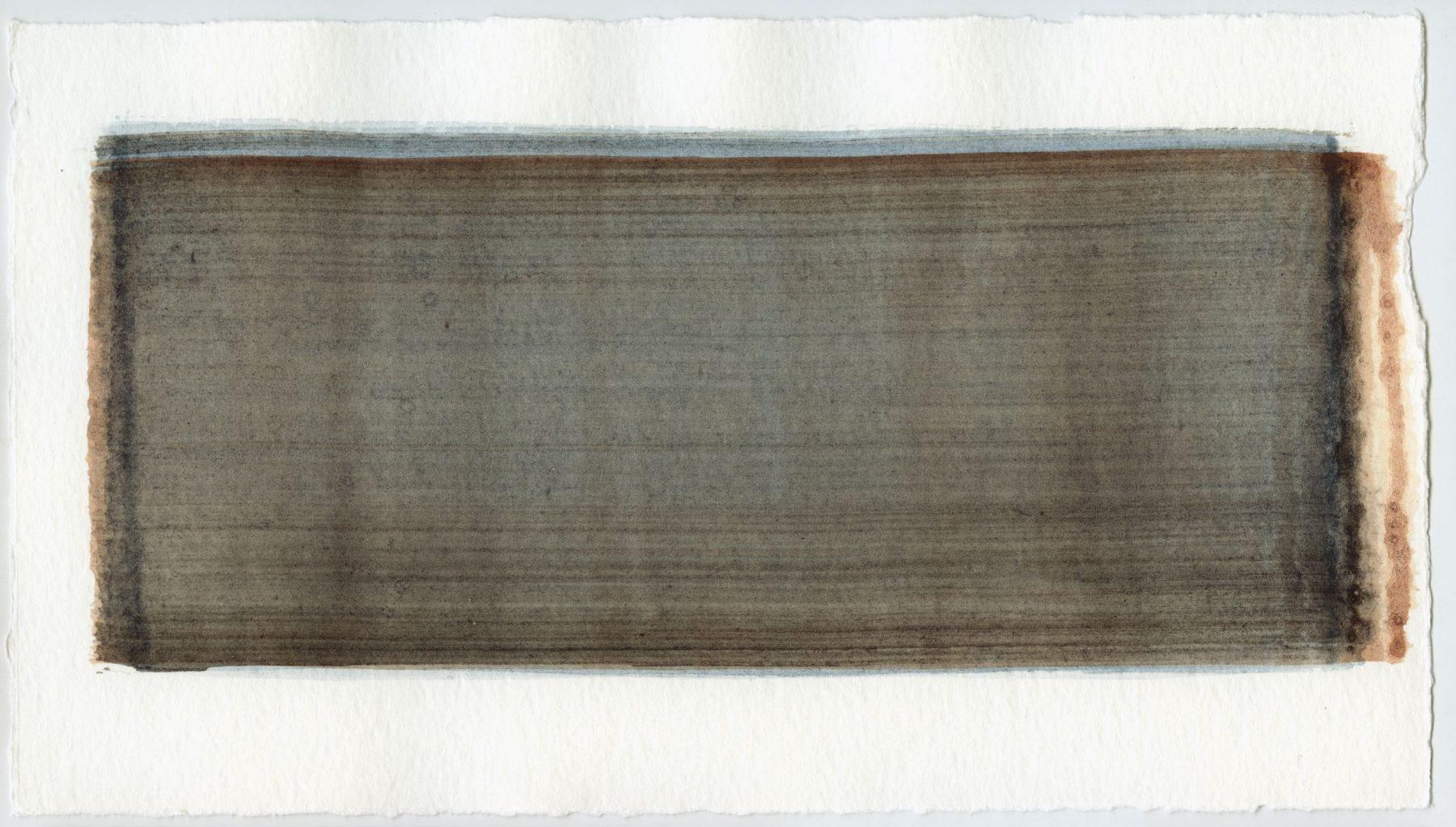 Brush stroke no. 72 - Pigment: Vivianiet (from Kremer Pigmente) Selfmade pigment: IJzeroer gebrand