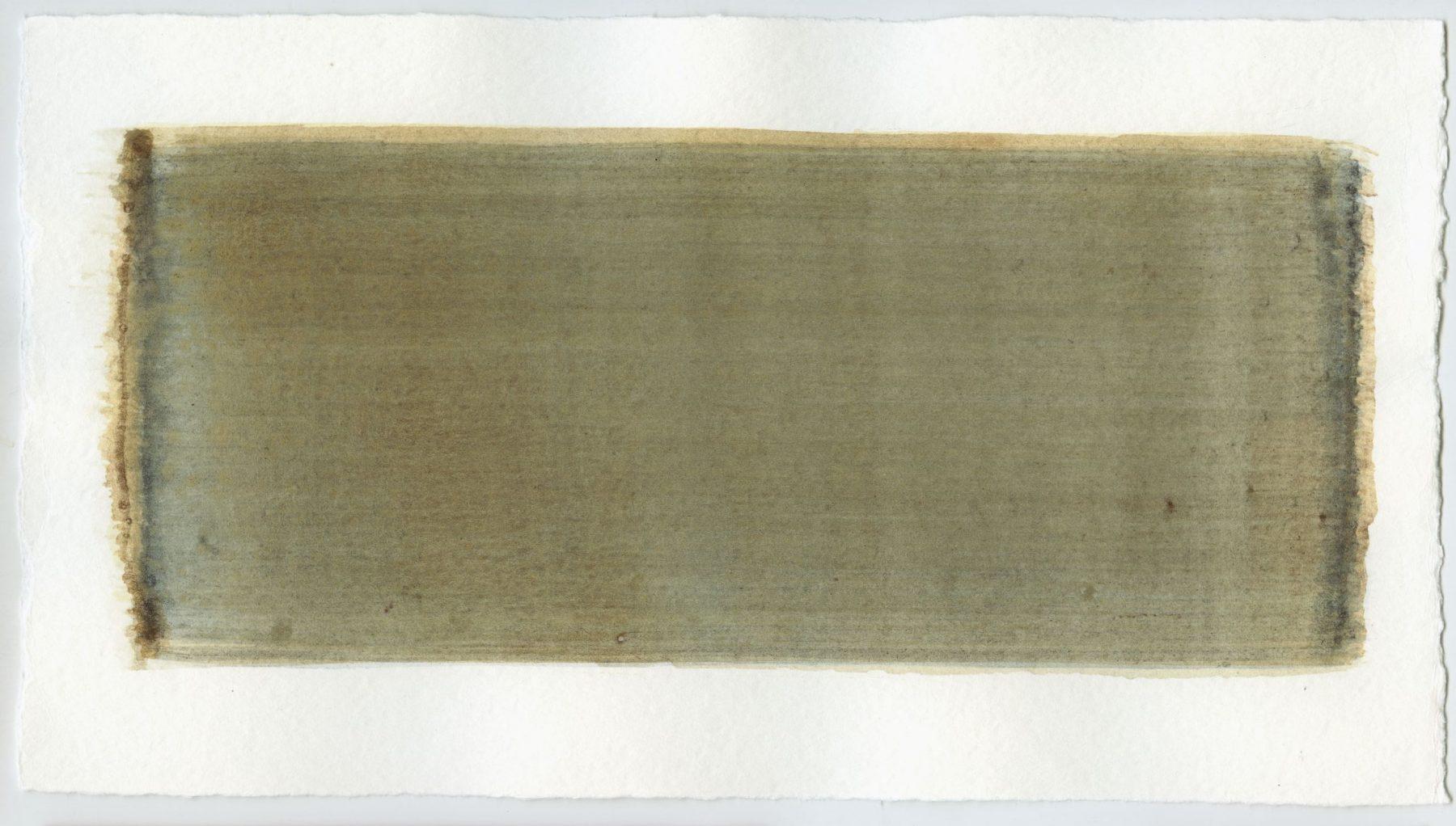 Brush stroke no. 73 - Pigment: Vivianiet (from Kremer Pigmente) Selfmade pigment: IJzeroer, Perekker grijs