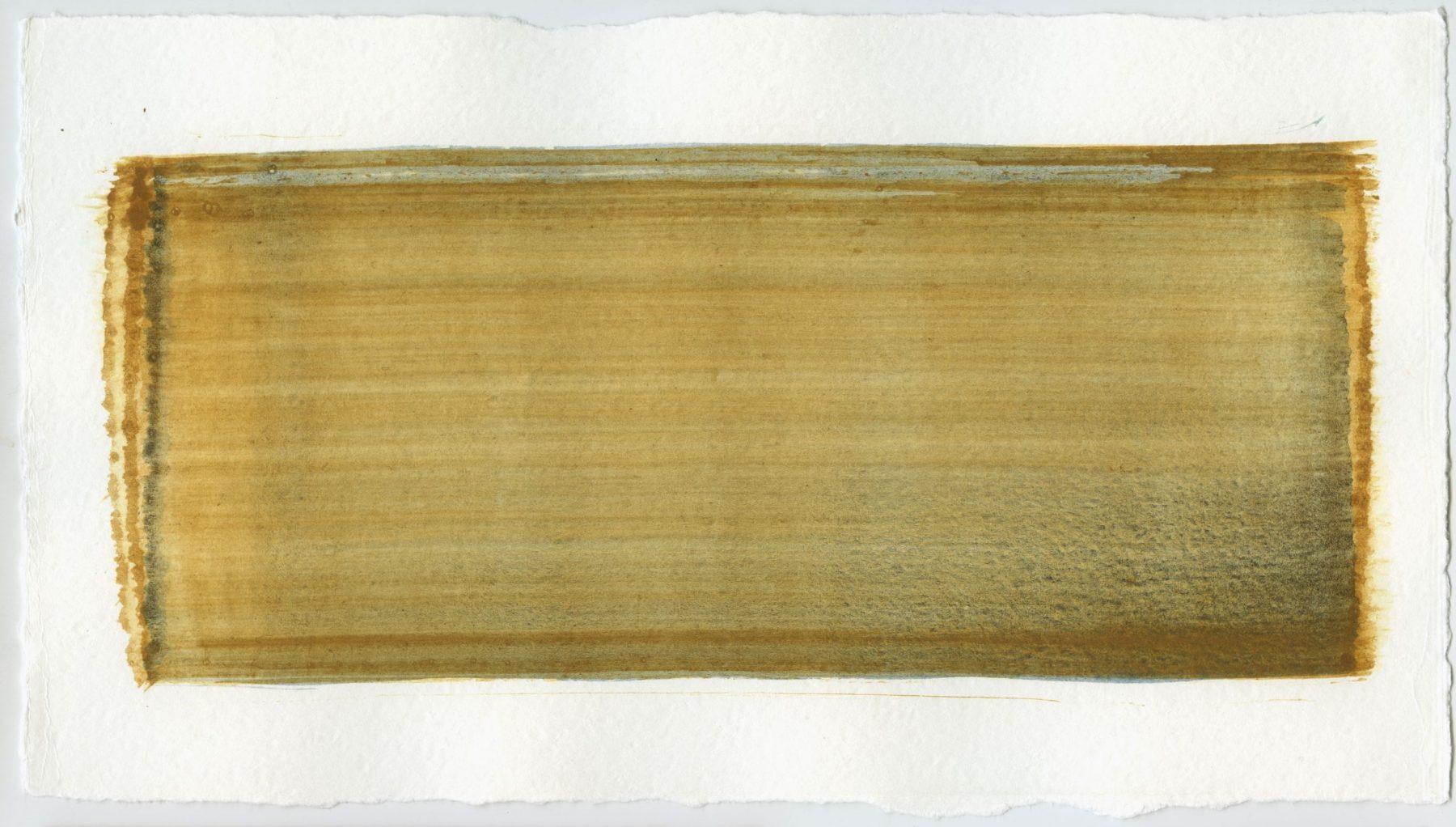 Brush stroke no. 74 - Pigment: Vivianiet (from Kremer Pigmente) Selfmade pigment: Mortelse goudoker