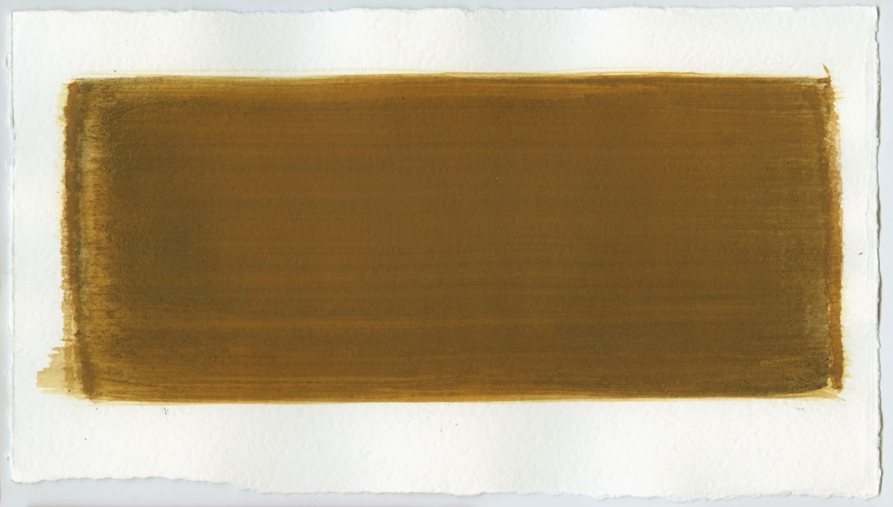 Brush stroke no. 77 - Selfmade pigment: Slingerpad bruin, Mortelse goudoker