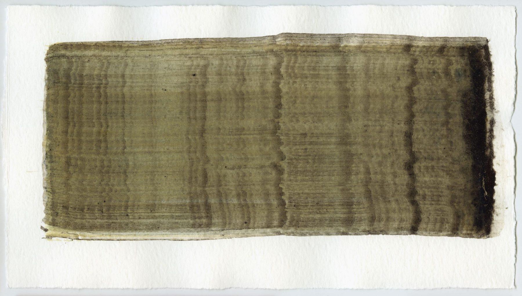 Brush stroke no. 78 - Pigment: Vivianiet (from Kremer Pigmente) Selfmade pigment: Mortelse oker, Slingerpad bruin