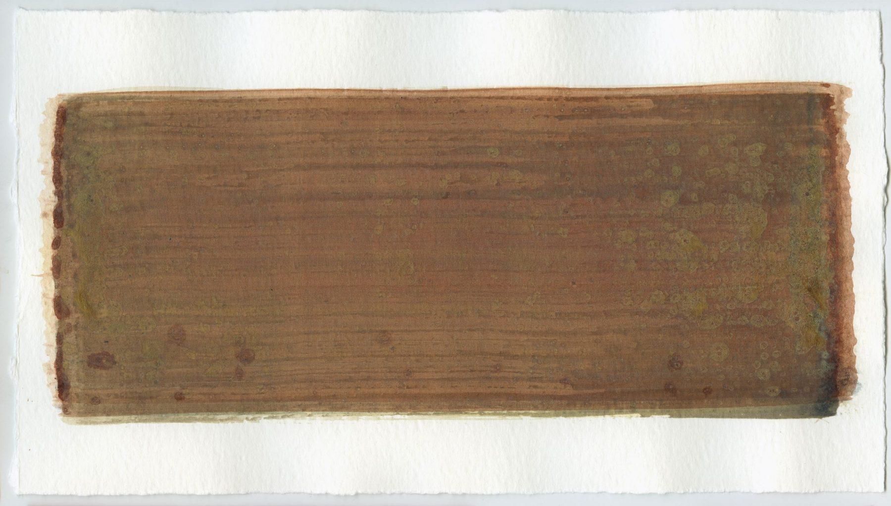 Brush stroke no. 90 - Selfmade pigment: IJzeroer gebrand, Mortelse oker, Boekels grijs