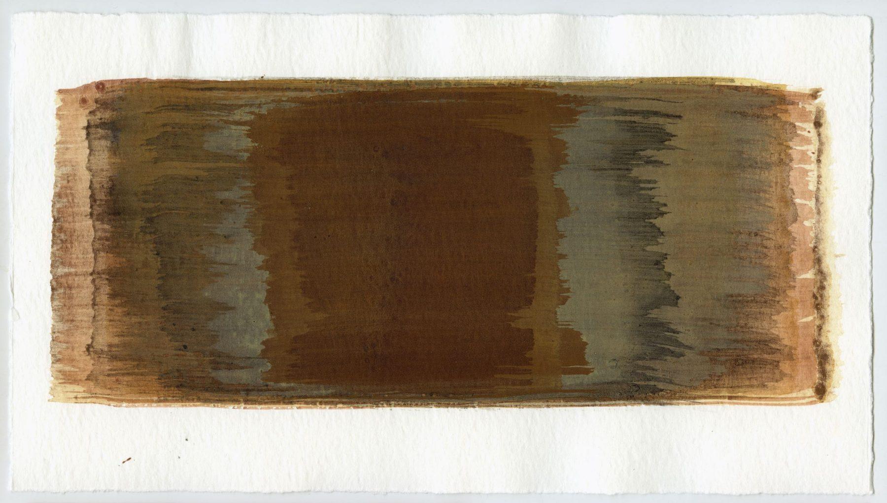 Brush stroke no. 92 - SOLD - Selfmade pigment: Mortelse oker gebrand, IJzeroer, Slingerpad bruin, Perekker grijs gebrand, Mortelse oker, Slingerpad zwart, Perekker grijs, IJzeroer IJzeroer gebrand