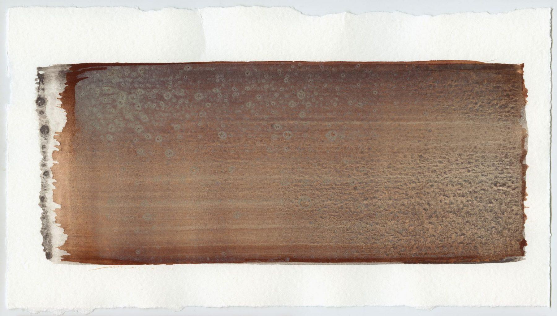 Brush stroke no. 93 - SOLD - Selfmade pigment: Mortel paarsgrijs fijn, Mortelse oker gebrand, Perekker grijs