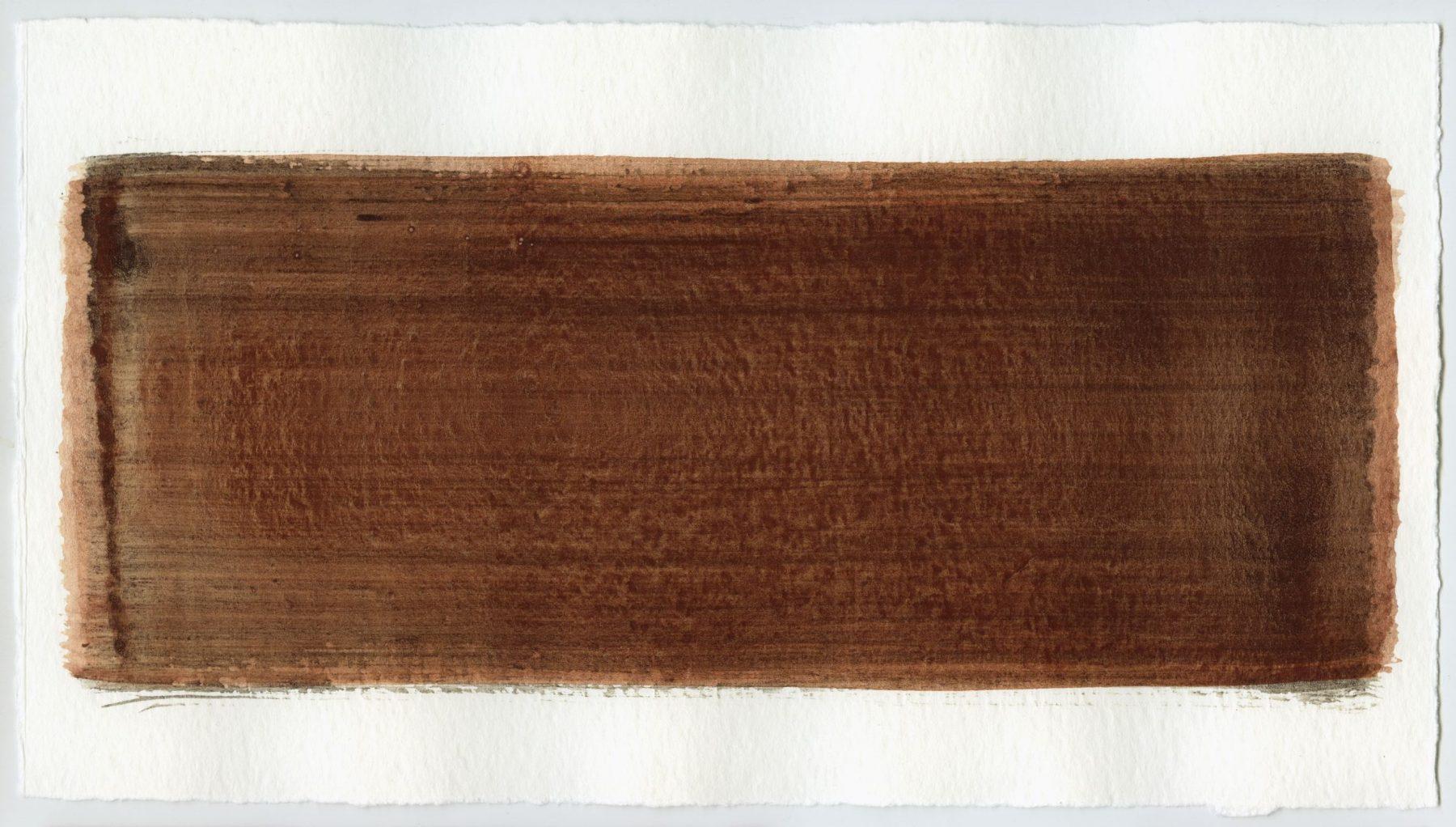 Brush stroke no. 101 - Selfmade pigment: Slingerpad bruin, IJzeroer gebrand