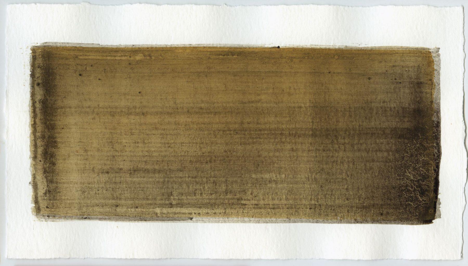 Brush stroke no. 102 - Selfmade pigment: Slingerpad bruin, Mortelse goudoker