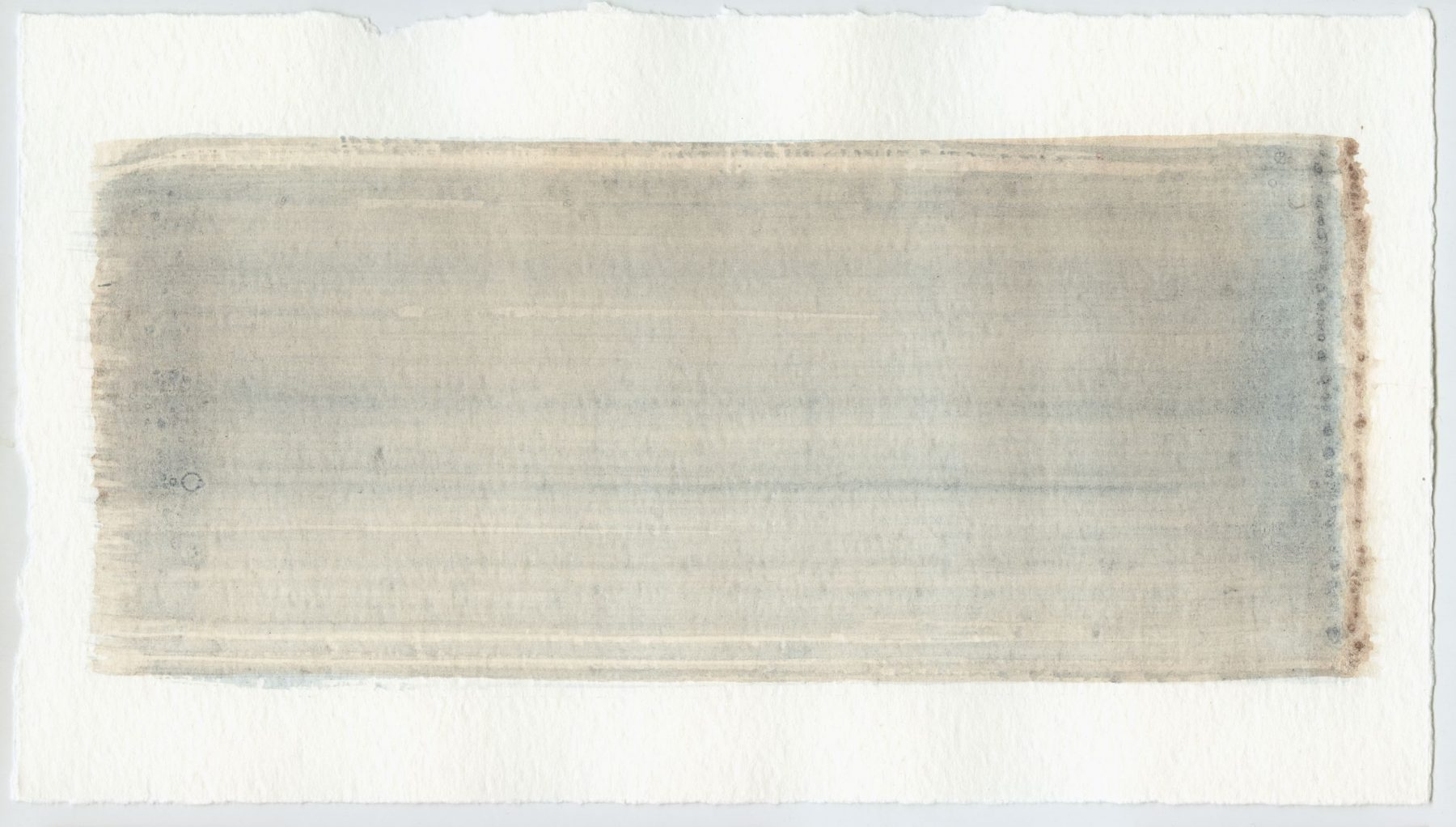 Brush stroke no. 109 - Pigment: Vivianiet (from Kremer Pigmente) Selfmade pigment: IJzeroer gebrand