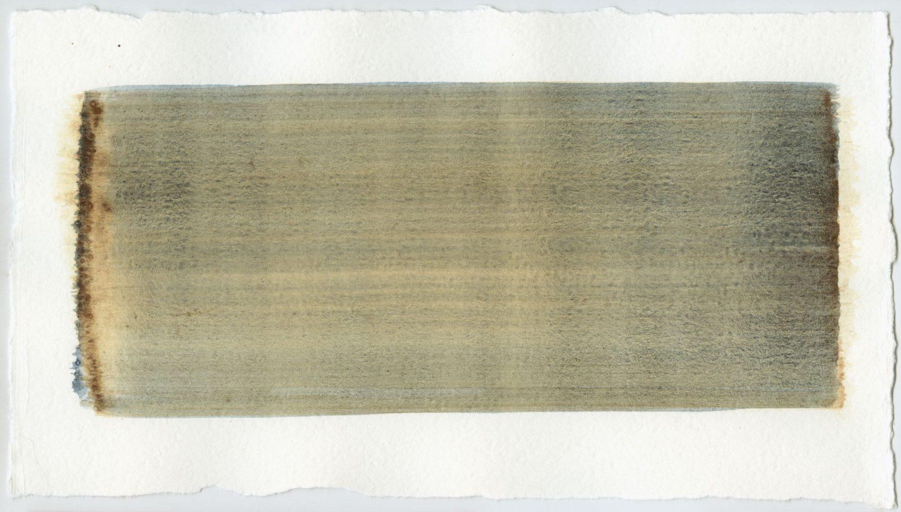Brush stroke no. 110 - Pigment: Vivianiet (from Kremer Pigmente) Selfmade pigment: IJzeroer