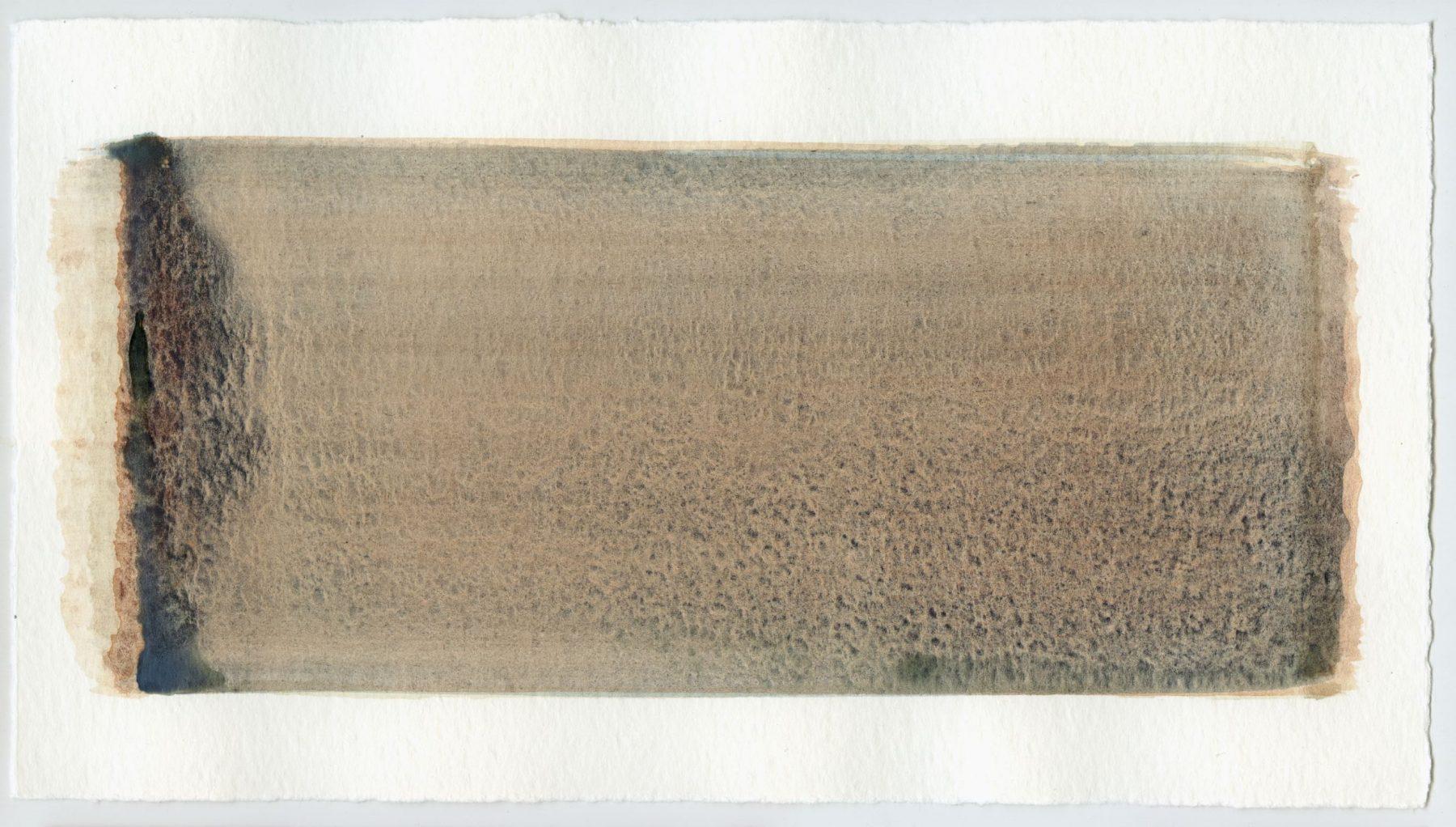 Brush stroke no. 112 - Pigment: Vivianiet (from Kremer Pigmente) Selfmade pigment: IJzeroer gebrand