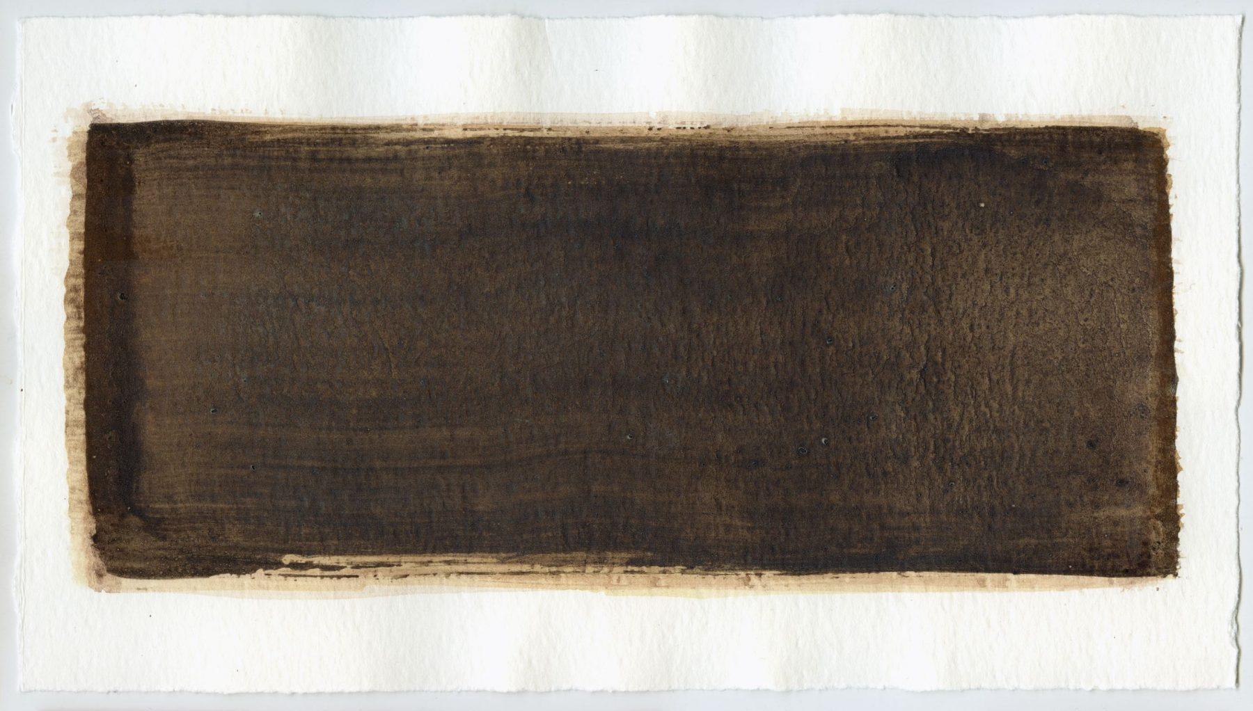 Brush stroke no. 117 - Selfmade pigment: Slingerpad bruin, IJzeroer, IJzeroer gebrand
